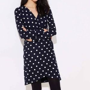 Loft long sleeve polka dot navy dress NWT